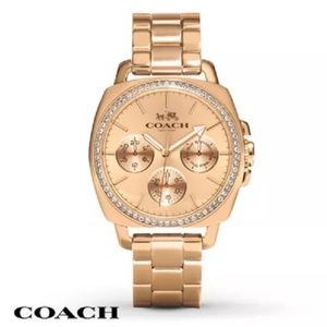 Coach Tristen Boyfriend Rose Gold Glitz Watch